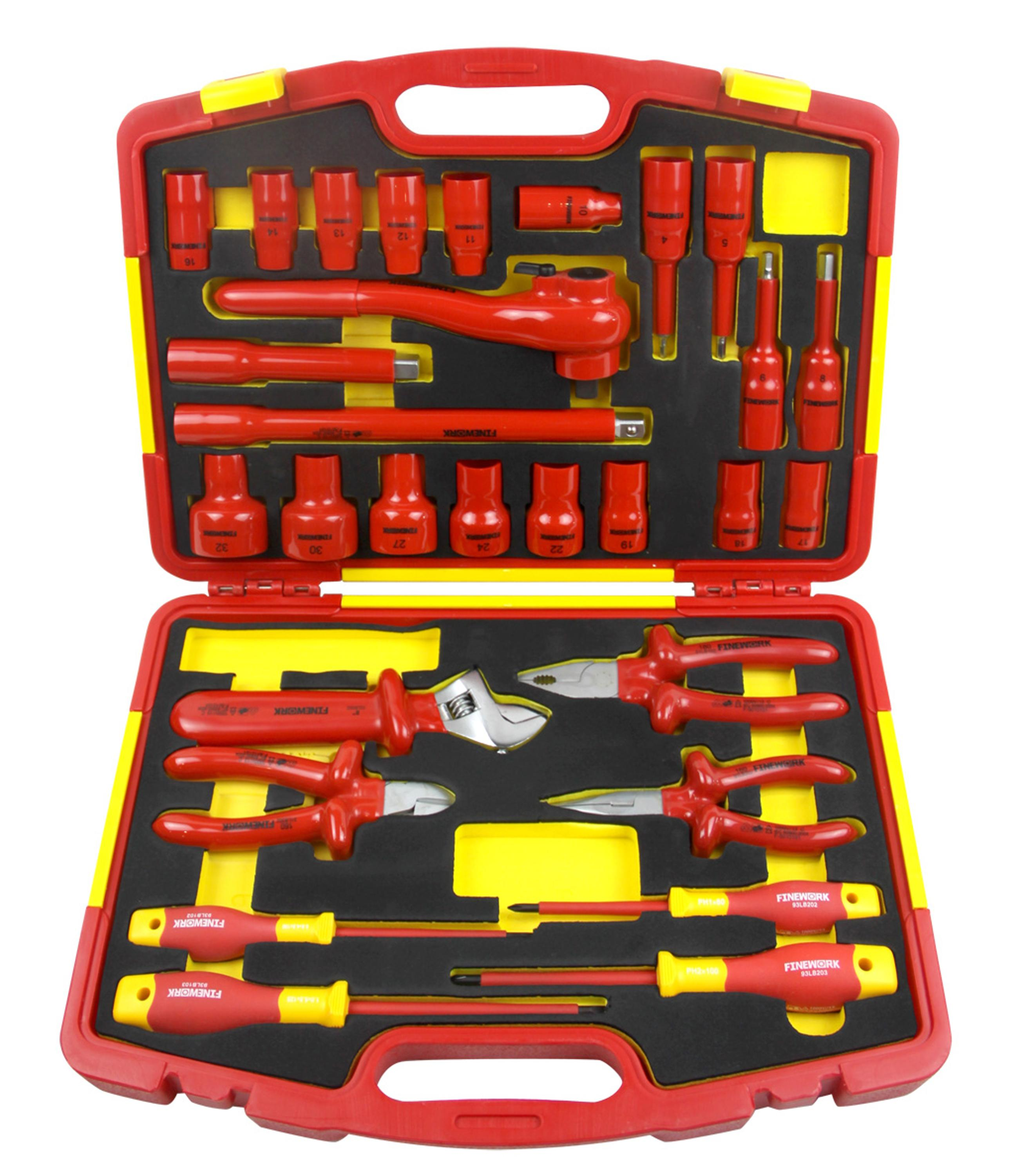 99LB003 China VDE 29PCS Insulated Mechanical Electrical Combination Home Household Box Hand Tool Set